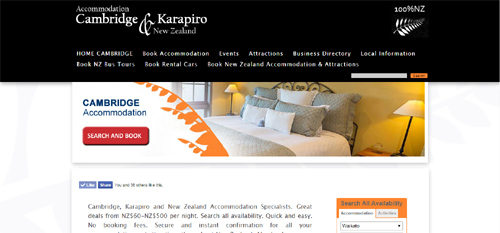 Accommodation Cambridge, Karapiro & New Zealand